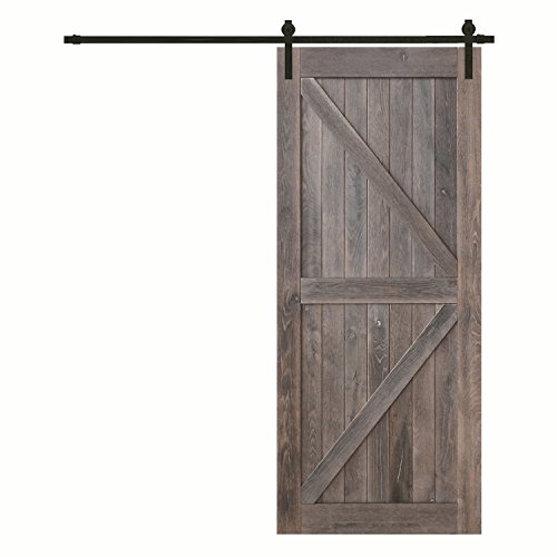YASEN Barn Door - Rustic Reclaimed Wood - DIY Sliding Interior Door- Solid Knotty Hard Wood Prefinished Barn Door with Hardware Track Set 36/42inchx84inch (Antique Oak) (42 X 84 inch, (Rustic Oak Doors)