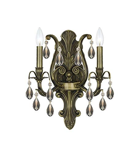Crystorama 5563-AB-GTS Crystal Accents Two Light Wall Sconce from Dawson collection in Brass-Antiquefinish, 7.50 inches