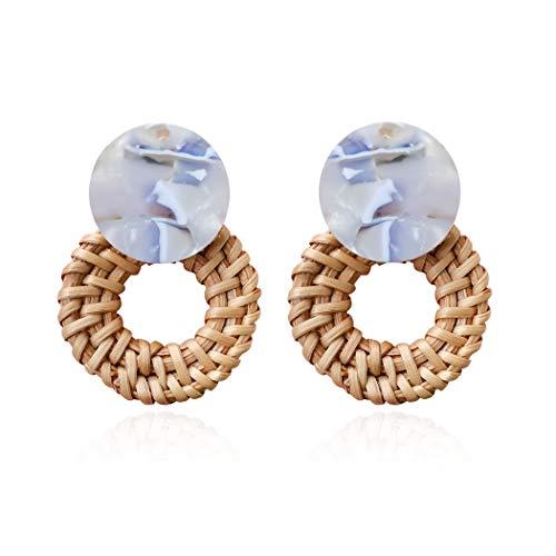 Woven Rattan Resin Earrings for Women Handmade Straw Knit Wicker Raffia Braid Drop Dangle Statement Earrings (Acrylic-5) ()