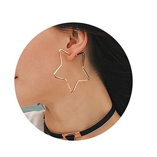 Cereza Women Stainless Steel Simple Geometric Star Hoop Earring (Simple Star)