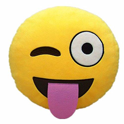 FEIYI 32cm Emoji Emoticono Cojín Amarillo Almohada Redonda ...