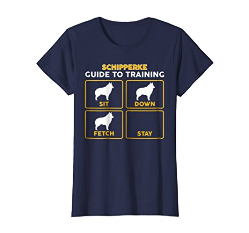 Womens Schipperke T-Shirt | Funny Guide To Training Large Navy