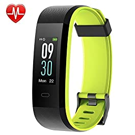 YAMAY Fitness Tracker, Heart Rate Monitor Watch Fitness Watch Activity Tracker IP68 Waterproof Pedometer with Step Counter Sleep Monitor 14 Sports Tracking for Women Men Kid (Color Screen)