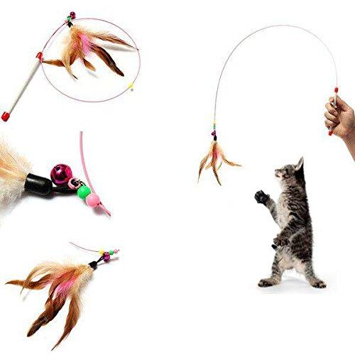 FOCUSPET Katzenangel Spielzeug Spielangel Glocke Katzenspielzeug mit Federn