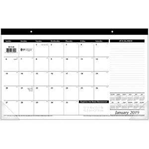 AT-A-GLANCE 2019 Desk Calendar, Desk Pad, 17-3/4″ x 11″, Compact, Black/White (SK1400)