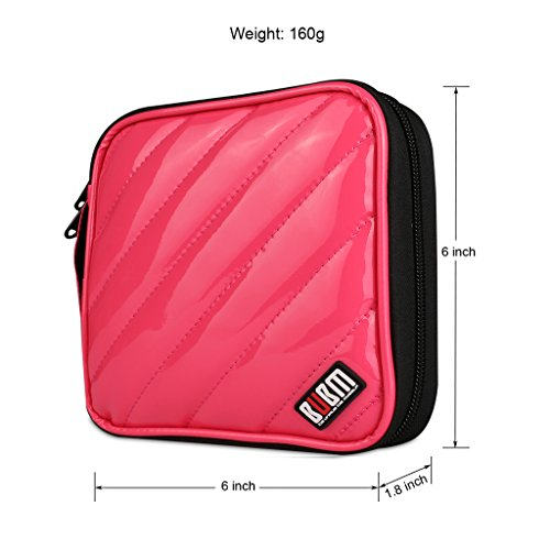 BUBM CD Cases PU Cover 32 Disc CD DVD Wallet Storage Organizer Travel Bag, CD/DVD Bag (Rose Red)