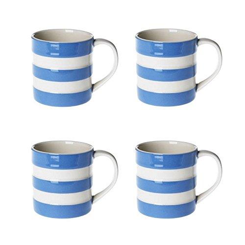 Cornishware Blue and White Stripe Set of 4 Espresso Cups Mugs, 6oz by Cornishware