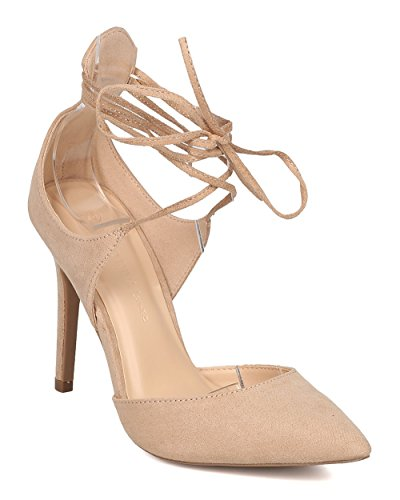 Wild Diva Women Faux Suede Stiletto Pump - Ankle Wrap Heel - Pointy Toe Pump - GI19 by Natural Faux Suede (Size: 8.5) (Strappy Wrap Ankle)