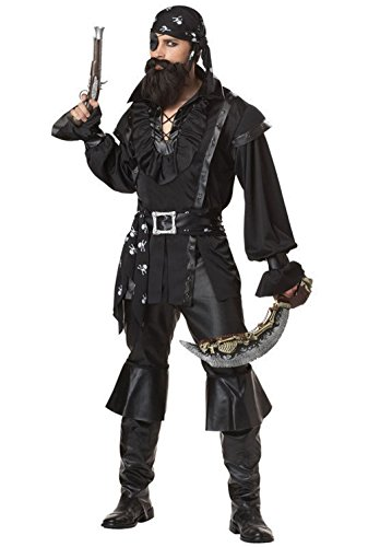 [Mememall Fashion Captain Plundering Pirate Buccaneer Adult Costume] (Captain Flint Costume)