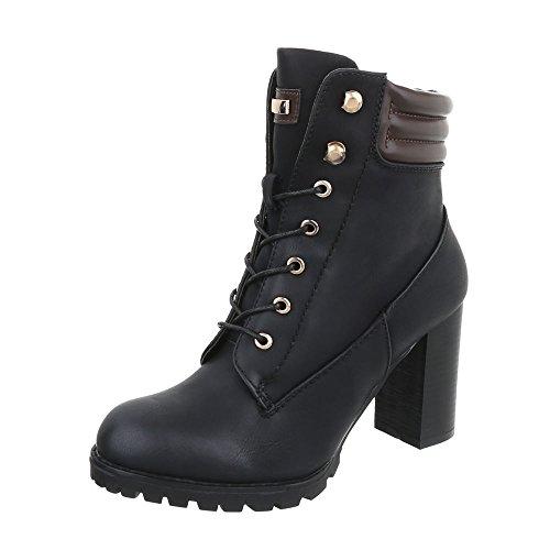 Ital-Design Schnürstiefeletten Damenschuhe Schnürstiefeletten Pump Schnürer Reißverschluss Stiefeletten Schwarz S89