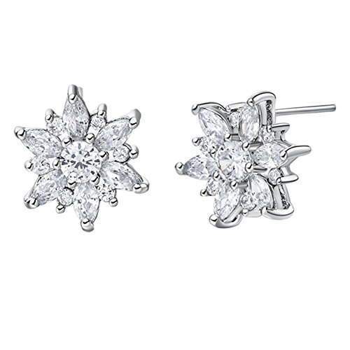 FENDINA 18K White Gold Plated Snowflake Flower Studs Earrings Birthstone Bling Crystal CZ Stone Paved Earrings for Women Hypoallergenic Milti Color