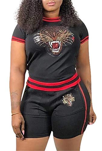 Lucuna Women Sequin Tiger Printed Clubwear 2 Piece Outfits Stripe T Shirt Short Pants Romper Sportwear with Pockets