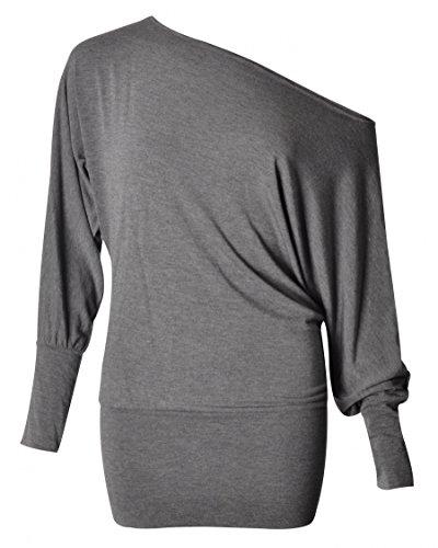 Damen plus Größe ab Schulter Baggy Langarm Fledermaus lumpen Kleid top (48/50, Charcoal)