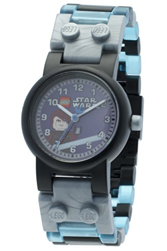 LEGO Anakin Star Wars Kids Buildable Watch with Link Bracelet and Minifigure | gray/blue | plastic | 28mm case diameter| analog quartz | boy girl | (Blue Girl From Star Wars)