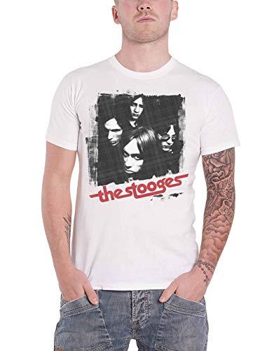 Iggy Pop & The Stooges T Shirt Four Faces Album Cover Official Mens White Size L