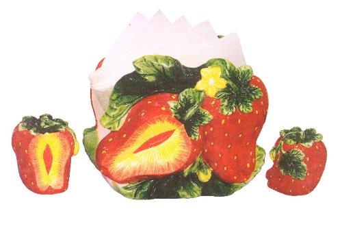 STRAWBERRY 3-D Table NAPKIN HOLDER W/SALT AND PEPPER ()