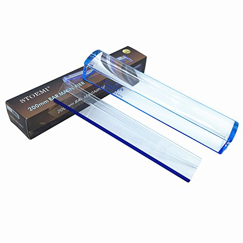Line Magnifier - 8 Inch 5X Blue Raised Domed Bar Magnifier 7513B with Reading Tracking Line Optical Tool Bar Magnifying Glass