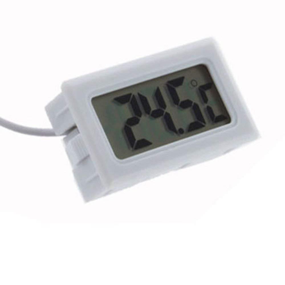 CHOULI Car Thermometer LCD Display Digital Clock Car-Styling Temperature Gauge Meter white