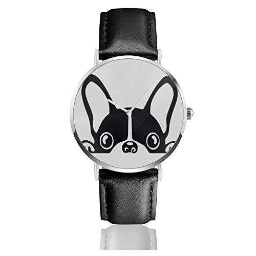 - French Bulldog Unisex Watch Fashion Sport Watch PU Leather Band Quartz Stainless Steel Wrist Watches Slim Classic Waterproof Business Watch