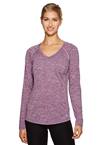 RBX Active Women's Space Dye Long Sleeve V-Neck T-Shirt Purple XL For Sale