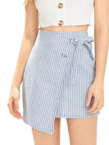 (WDIRARA Women's Summer High Waist Wrap Front Knot Stripes Mini Skirt Blue M)