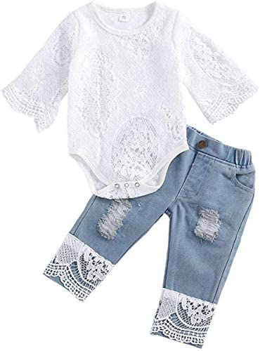 Voonlie Baby Girl Clothes Infant Outfits, Cute Toddler Lace Romper Top+Jeans Clothing Set