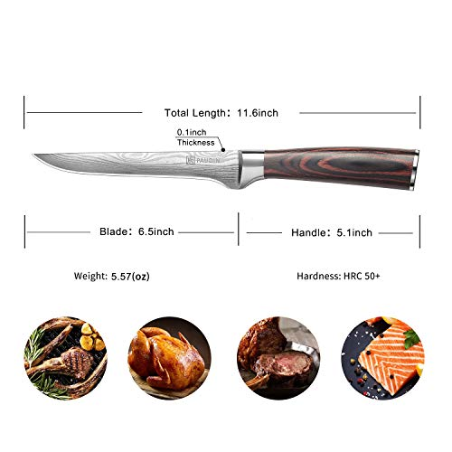 Fillet Knife - PAUDIN Pro 6 Inch Boning Knife German High Carbon Stainless Steel Knife with Ergonomic Handle, Ultra Sharp and Flexible by PAUDIN (Image #6)