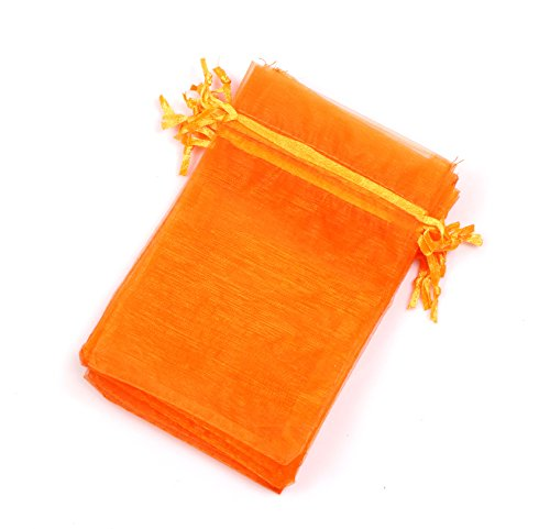 Orange Organza Bags - EDENKISS Brand Quality Drawstring Organza Jewelry and Accessory Pouch Bags (Orange, 4X6'')