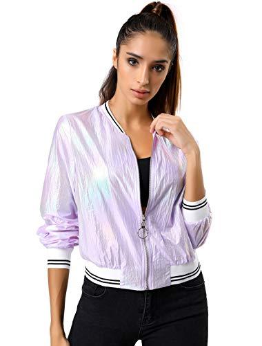 Metallic Bomber - Allegra K Women's Holographic Fashion Stand Collar Metallic Lightweight Zip Bomber Jacket Purple M(US 10)
