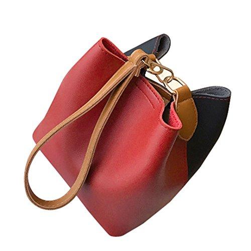 (Luxury Fashion Women Leather Wide Handbag Patchwork Shoulder Crossbody Bucket Bag Handbags)