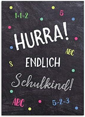 Glückwunschkarte Schulanfang für Junge und Mädchen, Postkarte Schulanfag, Einschulung