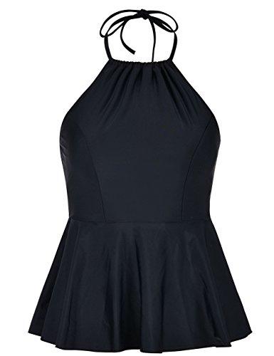 coastal rose Women's High Neck Tankini Top Halter Swimsuits High Waisted Ruffled Hem Swimwear US14 Black - Halter Neck Suit