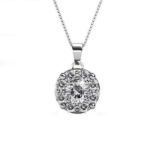 18K White Gold Halo Round Solitaire Swarovski Crystals Elements Necklace with Center Round Stone and...