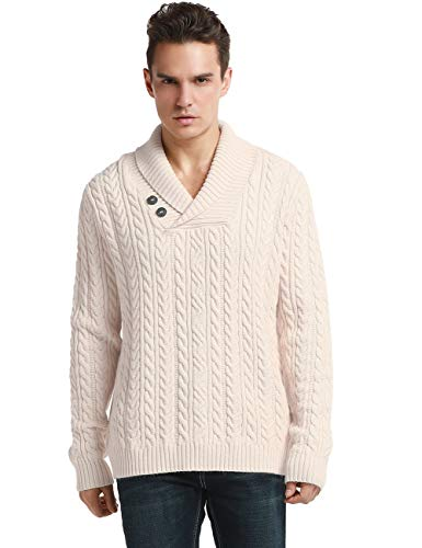 (Lynz Pure Men's Sweater Shawl Collar Cable Knit Pullover Knitwear XL Beige)