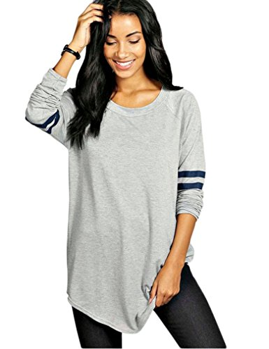 OURS Womens Round Neck Long Sleeve Jersey Shirt Loose Long T-Shirt Tops (XL, Gray)