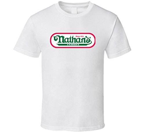 Dog Nathans Hot - Nathans Hot Dogs Coney Island Hot Dog Eating Competition T Shirt L White