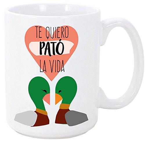 MUGFFINS Taza para Enamorados/San Valentin - Te Quiero Pato la Vida - 350 ml - Tazas Desayuno Originales con Frases de Regalo para Novios/Novias …