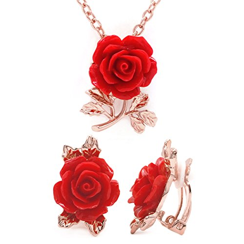 Sparkly Bride Rose Gold Plated Red Resin Flower Fashion Clip on Earrings Pendant Necklace Jewelry Set