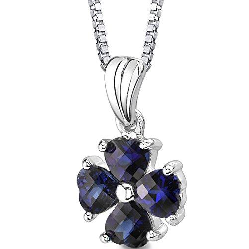 Created Sapphire Heart Pendant - Created Sapphire Heart Cloverleaf Pendant Necklace Sterling Silver Rhodium Nickel Finish
