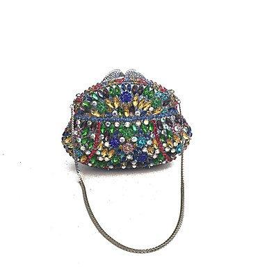 KYS Mujeres hechas a mano un embrague de vidrio de grado y bolsas de noche en multi , rainbow RAINBOW