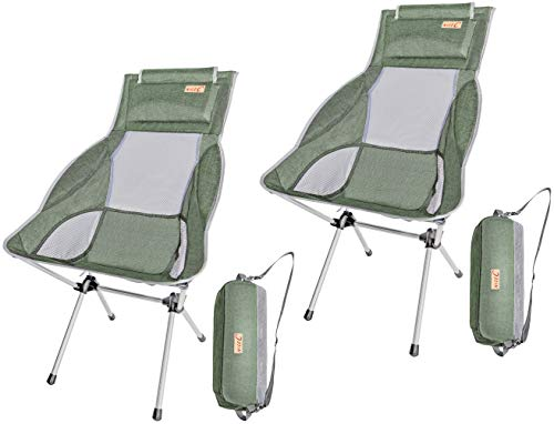 NiceC Ultralight High Back Folding Camping Chair, with Headrest, Outdoor, Backpacking Compact & Heavy Duty Outdoor, Camping, BBQ, Beach, Travel, Picnic, Festival with Carry Bag (2 Pack of Green