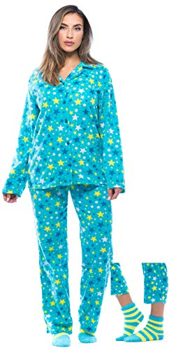 6370-10239-L #FollowMe Printed Microfleece Button Front PJ Pant Set with Socks,Blue - Starry,Large