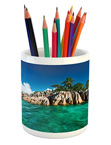 St Pierre Islands (Island Pencil Pen Holder by Lunarable, St. Pierre Island at Seychelles Natural Granite Relaxation Mediterranean, Printed Ceramic Pencil Pen Holder for Desk Office Accessory, Jade Green Blue Tan)