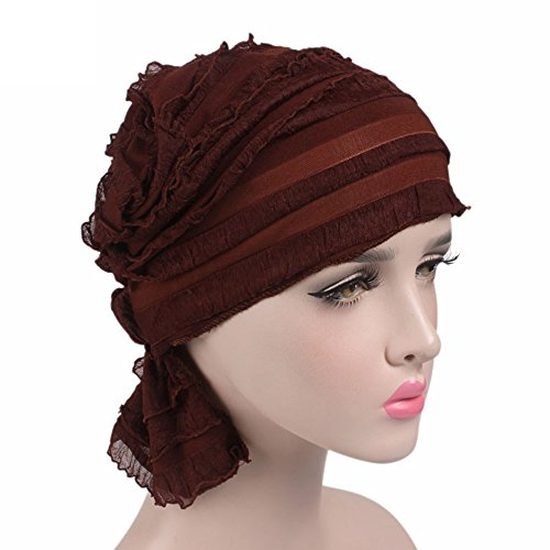 UHBGT Cap Bamboo Hat,Comfort Cotton Ruffle Sleep Caps Chemo Headband Scarf Beanie Cap Hat For Cancer Patient Hair Loss