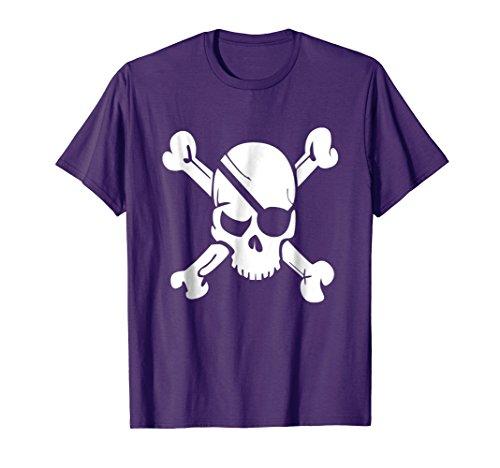 Mens Pirate Skull Crossbones T Shirt Halloween 3XL (Simple Male Pirate Costume)