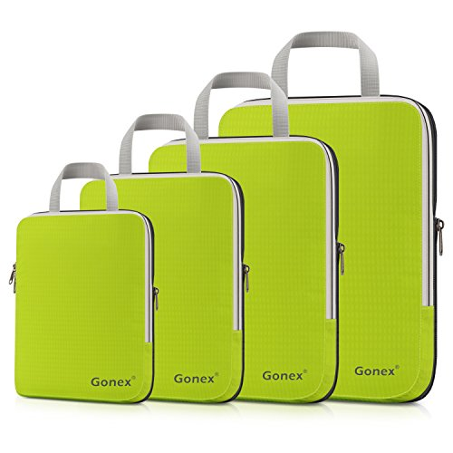 (Gonex Compression Packing Cubes Set, Expandable Packing Organizers 4pcs (Green))