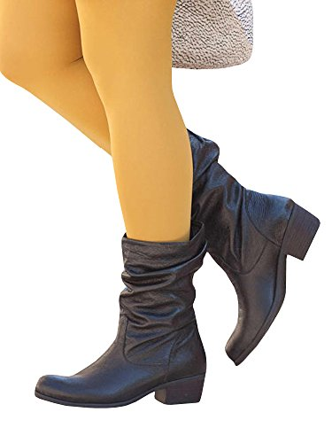 Ermonn Womens Mid Calf Slouch Boots Faux Leather Low Stacked Heel Fall...