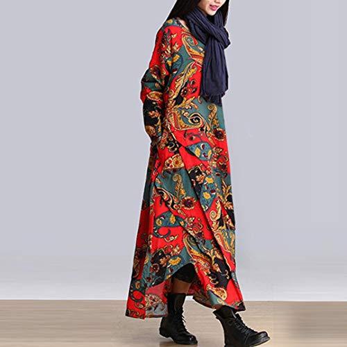 Plus Loose Cotton Splicing Red And Women Printing Linen Dress Size Long d0xUxwEYq