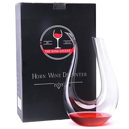 Decanter per vino in vetro trasparente a forma di U in corno Contenitore per versatore di vino rosso trasparente