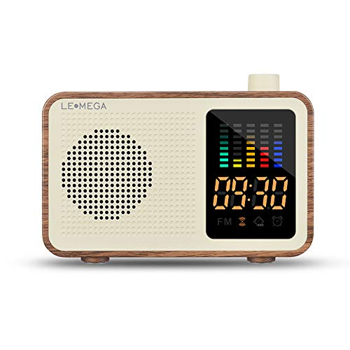 Portable Bluetooth Speaker Vintage Retro Style Wood Grain Bluetooth 4.1 Wireless Speaker with FM Radio Alarm Clock AUX Input Support TF Card (Walnut)